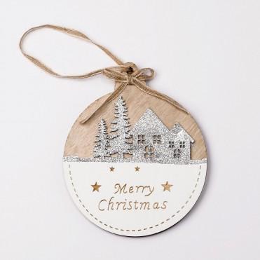 Colgante madera paisaje navideño