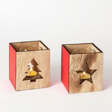 Portavelas de madera