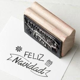"Sello rectangular ""Feliz Navidad"""