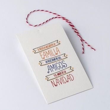 """Pack tarjetas para regalos """"Familia, Amigos, Navidad"""""""