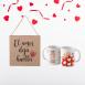 """Pack taza de cerámica y cuadro """"El amor deja huella"""""""