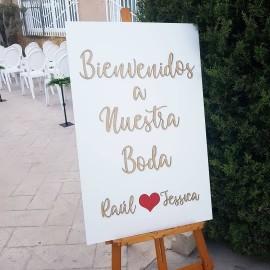 Cartel madera bienvenidos a nuestra boda