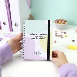 """Cuaderno A5 """"VALIENTE Y DECIDIDA VOY A TOPE POR LA VIDA!"""""""